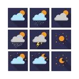 Gesetzter Vektor der Wetter-Nachtikone Stockbilder