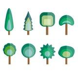 Gesetzter Vektor des flachen Designs des Baums Lizenzfreies Stockbild