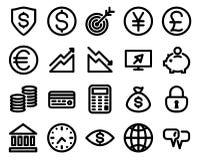 Gesetzter Vektor des Geldes zeichnet Ikonen Stockfotos