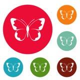 Gesetzter Vektor des kleinen Schmetterlingsikonen-Kreises Stockbild