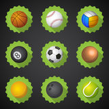 Gesetzter Vektor flacher Ikone Sport-Ball-Fußball-Fußball Voleyball usw. Lizenzfreies Stockfoto