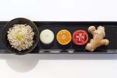 Gesetzter weißer Hintergrund des gesunden Lebensmittels Stockfotos