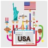 Gesetztes Freiheitsstatue des Weißen Hauses USA des Vektors flache Illustration des Rugbys Stockbild