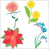Gesetztes Gekritzel gezeichnete Blumen lokalisiert auf weißem Hintergrund für Design Stockfotos