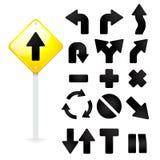 Gesetztes gelbes Verkehrsschild und Verkehrszeichen auf weißem Hintergrund Stockbilder