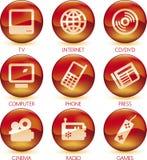 Gesetztes Grün der Multimediaikone (Vektor) Lizenzfreie Stockfotografie