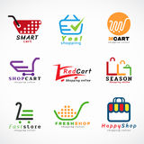 Gesetztes Grafikdesign des Warenkorblogo- und Einkaufstaschelogovektors Stockbilder