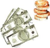 Gesetztes handgemaltes Aquarell - Dollar fünf Stücke und ein Stapel O Stockfoto