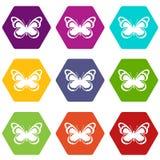 Gesetztes hexahedron Farbe der kleinen Schmetterlingsikone Lizenzfreies Stockbild