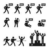 Gesetztes Illustrationspiktogramm der Marathonmanngeschichtenikone Stockbilder