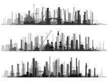 Gesetztes industrielles Teil der horizontalen Illustration der Stadt. Stockfoto