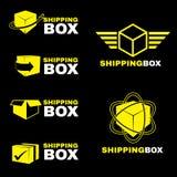 Gesetztes Isolat des gelben Versandkasten-Logozeichen-Vektors auf Schwarzem Stockfotos
