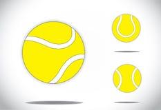 Gesetztes Konzeptdesign der gelben bunten Tennisballsymbolikone Lizenzfreies Stockbild