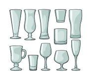 Gesetztes leeres Glasbier, Whisky, Wein, Gin, Rum, Tequila, Champagner, Cocktail stock abbildung