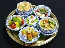Gesetztes Menü des thailändischen Lebensmittels Stockbild
