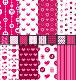 Gesetztes nahtloses Hintergründe Valentine Day-Muster lizenzfreie abbildung