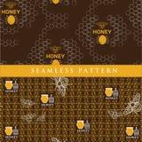 Gesetztes nahtloses Muster für Honigprodukt Stockfotografie