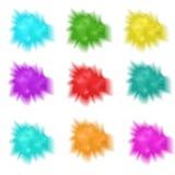 Gesetztes realistisches der Stechpalme spritzt von der Farbe Mehrfarbige Pulverwolke der Sammlung Stockbild