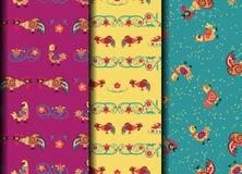 Gesetztes Retro- seamles Muster mit Hahn und Blume Stockfotos