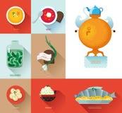 Gesetztes russisches nationales Lebensmittel Russischer Kücheesprit der Lebensmittelillustration Stockfoto