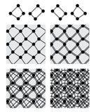 Gesetztes schwarzes nahtloses Muster der Kreiskasten-Achsensymmetrie Stockfoto