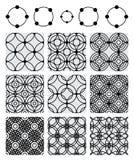 Gesetztes schwarzes nahtloses Muster der Kreiskreis-Symmetrie Stockfoto
