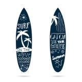 Gesetztes strukturiertes des Surfbrettes in der blauen Farbillustration Lizenzfreie Stockbilder