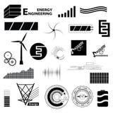 Gesetztes unterschiedliches Zeichen der Technologie und der Energie Einfache Ikonen und symbo Stockbild