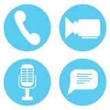 Gesetztes Video der Ikone und Audiomic, Spracheblase und Telefon lizenzfreie abbildung