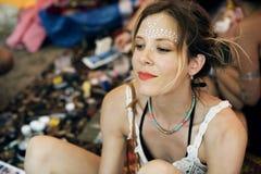 Gesicht, das Art Design Festival Event malt Lizenzfreies Stockbild