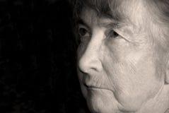 Gesicht der alten Frau Stockfotos