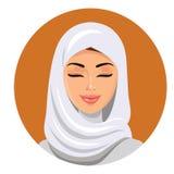 Gesicht der arabischen moslemischen Frau, Vektorillustration Porträt der arabischen Schönheit im weißen hijab Stockfotografie