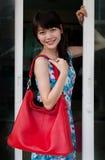 Gesicht der asiatischen Frau und rote lederne Art und Weise bauscht sich Stockbild