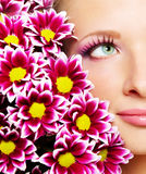 Gesicht der Frau mit Chrysantheme lizenzfreie stockfotos