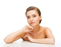 Gesicht der Frau mit sauberer perfekter Haut Stockfoto