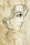 Gesicht der Frauen-Skizze-Zeichnung Stockbild