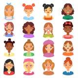 Gesicht der Frauenporträtvektor-weiblichen Figur des Mädchens mit Frisur- und Karikaturperson mit verschiedenem Hautton stock abbildung