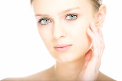 Gesicht der jungen Frau des Schönheitsnahaufnahmeportraits stockbilder