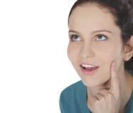Gesicht der jungen Frau mit dem Finger Lizenzfreies Stockfoto