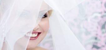 Gesicht der lächelnden Braut Stockfoto
