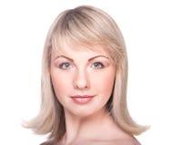 Gesicht der schönen Frau mit sauberer Haut Stockfotografie