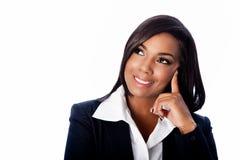 Gesicht der schönen lächelnden denkenden Geschäftsfrau Stockbilder