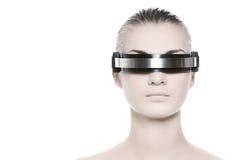 Gesicht der schönen Cyberfrau Lizenzfreie Stockbilder