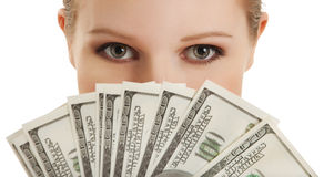 Gesicht der schönen jungen Frau und der money- Puppe Lizenzfreie Stockfotos