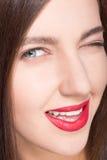 Gesicht der vorbildlichen Frau mit sauberer Haut Lizenzfreie Stockfotografie