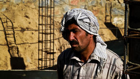 Gesicht des Afghanistan-Bauarbeiters Stockfoto