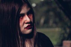 Gesicht des Frauengeistes ist sie furchtsam Stockfotos