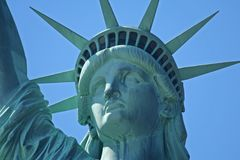Gesicht des Freiheitsstatuen Stockfotos