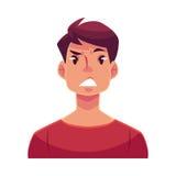 Gesicht des jungen Mannes, Umkippen, verwirrter Gesichtsausdruck Lizenzfreie Stockfotos