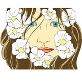 Gesicht des Mädchens in den Blumen Stockfotografie